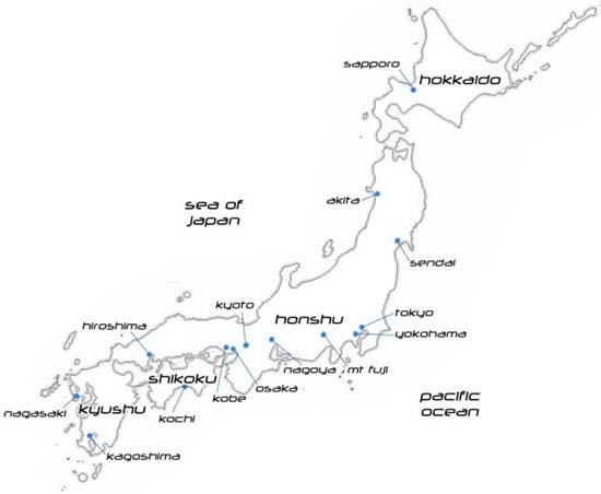 Simple Map Of Japan Mykpcouk - Japan map black and white