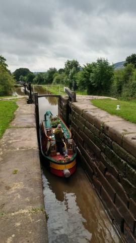 Canal boat in lock 7 at Bosley locks