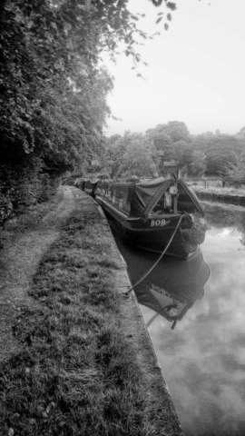Canal boat BOB in black and white