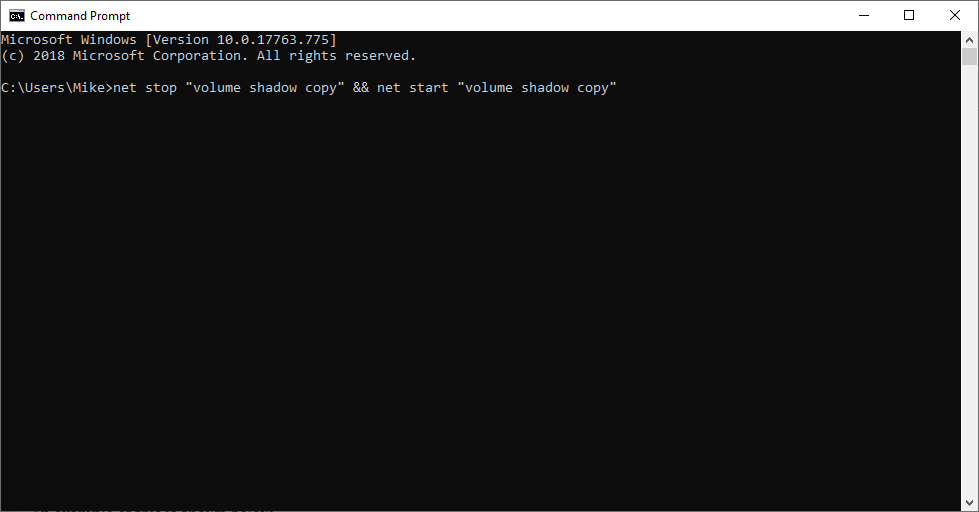 DOS Command Prompt Window